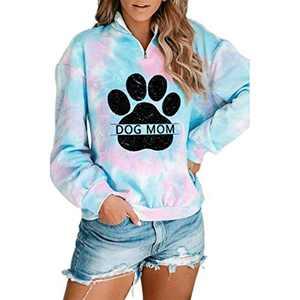Women Dog Paw Tie Dye Sweatshirt Dog Mom Print Pullover Long Sleeve 1/4 Zipper Tunic Tops (B-Sky-blue, XL)