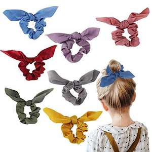 Bow Scrunchies For Long Hair - 8 Pcs Chiffon Satin Scrunchies Silk With Bow Scarf, Solid Stripe Flower Color Bow Scrunchies, Ponytail Holder With Tail, Rabbit Bunny Ear Bowknot Hair Accessories (A7)