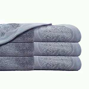 DerF HOME Bath Towel Set, Emboidered Towels Premium Original Turkish Cotton, Hotel Quality for Maximum Softness & Absorbency for Bathroom& Cleaning (Cool Grey,Set of 3)