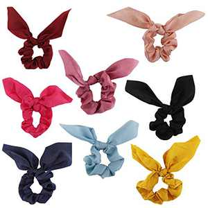 Bow Scrunchies For Long Hair - 8 Pcs Chiffon Satin Scrunchies Silk With Bow Scarf, Solid Stripe Flower Color Bow Scrunchies, Ponytail Holder With Tail, Rabbit Bunny Ear Bowknot Hair Accessories (A5)