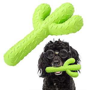 RooRuns Dog Chew Toys for Aggressive Chewers Large Breed, Non-Toxic Natural Durable Rubber Cactus Tough Stick Toys for Training and Cleaning Teeth, Interactive Dog Toys for Small/Medium Dog, Green