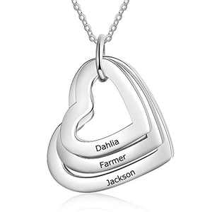 kaululu Personalized Heart Necklace for Women Charms Name Customed Engraved Necklace for Teens Girls Women BFF Necklace (3 Name sj)
