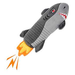 Squeaky Dog Toys ,IOKHEIRA Plush and Squeak Chew Toys,Durable Funny Cute Rocket Shark Dog Stuffed Toys with Cotton Material and Crinkle Paper, Puppy and Pet Toys for Small and Medium Dogs (Small)