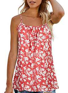 Tank Tops for Women Plus Size Boho Floral Loose Cami Spaghetti Strap Tunic Blouses(Red,XL)
