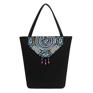 Embroidered Shoulder Handbags for Women Canvas Tote Handbags Ethnic Hobo Bags Shouler Bags Daily Bags for Lady
