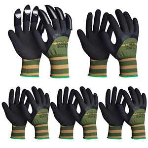 5 Pairs Garden Gloves for Women and Men ,Work Gloves with 8 Claws for Outdoor (Green, Small)
