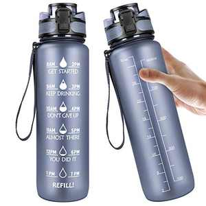 Manords 32oz Motivational Fitness Sports Water Bottle with Time Marker, Non-Toxic Large Wide Mouth Leakproof Gray