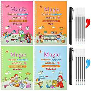 Magic Reusable Copybook for Kids, Disappearing Ink Handwriting Practice Book, Preschool Cursive Calligraphy Book (Alphabet-Drawing-Math-Number 4 Books with 2 Pens)