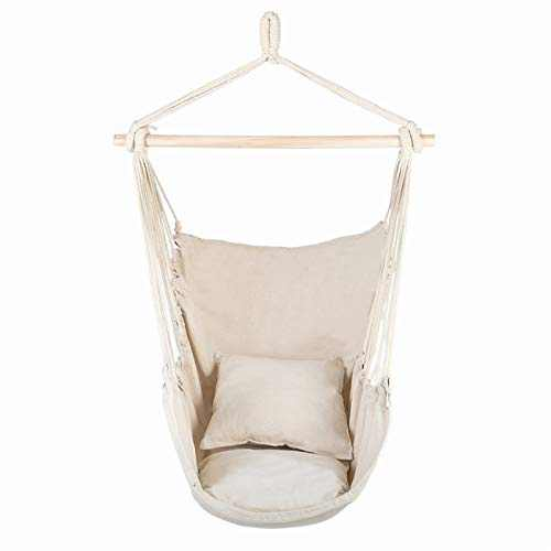 Distinctive Cotton Canvas Hanging Rope Chair with Pillows (Beige)