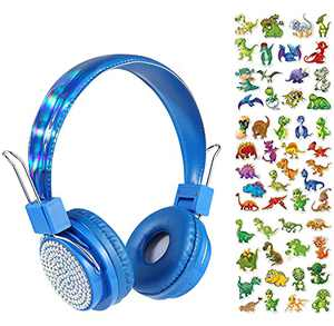 Charlxee Kids Wireless Headphones with Mic for School,Gifts for Girls Boys Children Birthday,On Over Ear Wired Headset with Foldable Headband/Bluetooth 5.0/HD Sound/Kindle/Tablet/Online Study(Blue)