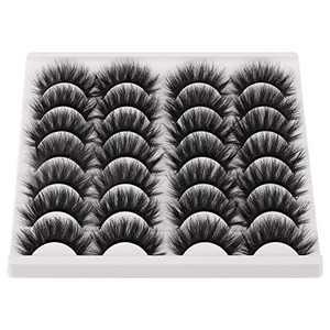 JIMIRE False Eyelashes Mink Fluffy Volume Lashes 3D Wispy Long Fake Eyelashes 14 Pairs Pack