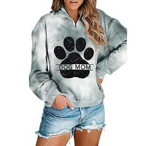 Dog Paw Tie Dye Sweatshirt Dog Mom Print Pullover Long Sleeve 1/4 Zipper Tunic Tops (B-Grey, M)
