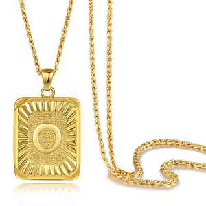Andsion Initial Letter Pendant Necklace for Men Boy Women Girl, 18K Gold Plated A-Z 26 Capital Initial Necklace Letter Necklaces, Solid Rope Chains 22 Inches