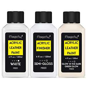 Magicfly Acrylic Leather Paint Kit for Shoes, Sneaker, Bags,Couches, White Acrylic Leather Paint & Semi-Gloss Finisher ,With Glow In The Dark Acrylic Paint (120 ml/4 fl oz.)for Beginner,Sneakers