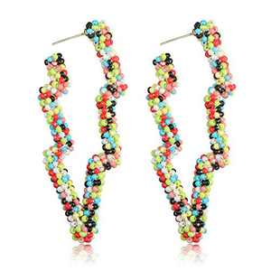 Sllaiss Lightning Earrings Boho Dangle Earrings Handmade Colorful Beaded Dangling Earrings for Women Big Exaggerated Statement Earrings (Yellow)