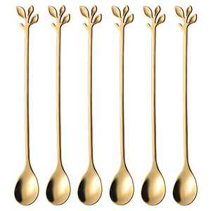 """Long Handle Iced Tea Spoons set, AnSaw 6 Pcs 7.4"""" Ice Cream Spoon, Creative Gold Leaf Cocktail Stirring Spoons, Premium Food Grade Stainless Steel, Mirror Finish & Dishwasher Safe (Gold, 6)"""