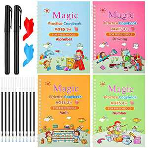 Magic Practice Copybook for Kids, Reusable Writing Calligraphy Book English Set, Handwriting Workbook for Preschoolers & Kindergarten Kids Ages 3-6 (Four Books with 2 Magic Pen Set)