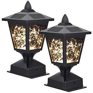 Solar Post Lights Outdoor, 30 LED Fairy Lights Super Bright Solar Post Lights for 4x4 6x6 Wooden Posts, Waterproof Outdoor Landscape Decoration Lighting Auto On/Off for Fence Deck or Patio (2 Pack)