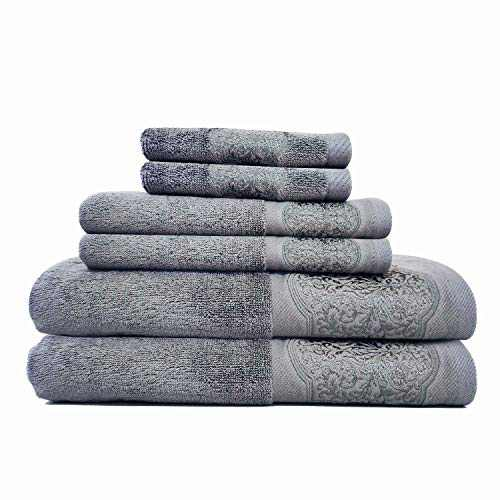 DerF HOME Bath Towels Set Large - 700 GSM Premium Original Turkish Cotton, Hotel Quality for Maximum Softness & Absorbency for Face, Hand, Bathroom& Cleaning (Cool Grey,Set of 6)