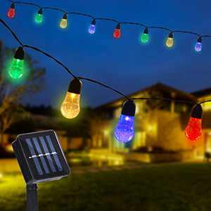 Solar String Lights Outdoor,Globe Fairy Lights,30 LED Lights,Solar Powered Lights with 8 Modes for Home Patio Halloween Christmas Decor