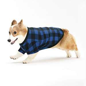 Hozz Classic Plaid Cotton Dog T-Shirt Breathable and Comfortable for Small Medium Dogs Christmas Cats Puppy Warm Cloth Gift Blue&Black Plaid L