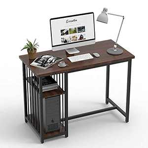 AODAILIHB Home Office Computer Desk, 41'' Writing Study Table with Storage Shelves for Small Spaces Modern Simple Style Student PC Workstation (1, Brown)