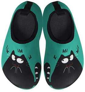 BomKinta Kids Water Shoes Boys Girls Quick Dry Non-Slip Aqua Socks for Beach Swimming Pool Black Green Size 3.5-4 M US Big Kid