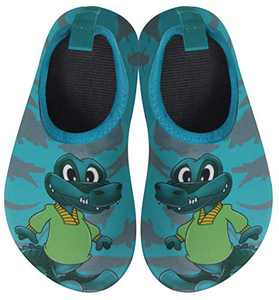 BomKinta Kids Water Shoes Boys Girls Quick Dry Non-Slip Aqua Socks for Beach Swimming Pool Dark Green Size 1-2 M US Little Kid