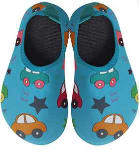 BomKinta Kids Water Shoes Boys Girls Quick Dry Non-Slip Aqua Socks for Beach Swimming Pool Light Blue Size 6-7 M US Toddler
