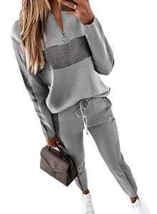 Colorblock Plaid Zipper up SweatOutfitsforWomen Long Sleeve Top Drawstring Pants Active Sets 2 Piece Tracksuit Sweatpants Sport Outfits Loungewear Sweatsuit Sets Sweatsuit Set Gray Plus Size