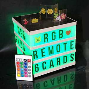 LED Light Up Board, Color Changing Cinema Message Light Box with RGB Remote, Letters, Numbers, DIY Gift Marquee Letter Lights Easter Decor for Room Him Her USB OR Battery Powered(not Included)