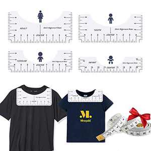 4 Pcs T-Shirt Ruler Guide Alignment Tool to Center Designs T-Shirt for Adult Youth Toddler Infant (4 Pack+Tape Measure)