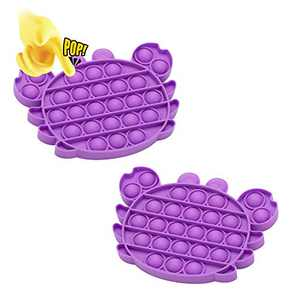 Push Pop Bubble Sensory Fidget Toy, 2 PCs Poke Pop Toys, Silicone Squeeze Sensory Toy, Autism Needs Stress/Anxiety Reliever Miniature Novelty Toys for Kids, Family, Students Friends (Purple2)