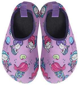 BomKinta Kids Water Shoes Boys Girls Quick Dry Non-Slip Aqua Socks for Beach Swimming Pool Purple Size 9.5-10 M US Toddler