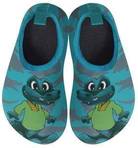 BomKinta Kids Water Shoes Boys Girls Quick Dry Non-Slip Aqua Socks for Beach Swimming Pool Dark Green Size 3.5-4 M US Big Kid