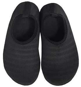 BomKinta Kids Water Shoes Boys Girls Quick Dry Non-Slip Aqua Socks for Beach Swimming Pool Black Size 1-2 M US Little Kid