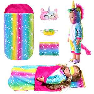 18 Inch Doll Clothes Accessories,Unicorn-Pajama and Sleeping Bag Set with Sleepover Masks & Pillow - Compatible with My Life Dolls, American Girl Dolls,Our Generation Baby Alive Dolls (Rainbow)