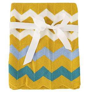 Cozyholy Baby Blanket Knitted Elegant Chevron Soft Toddler Nursery Crib Throw Blankets Receiving Swaddle Blanket Stroller Cover for Girls Boys,40x30 inch