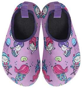 BomKinta Kids Water Shoes Boys Girls Quick Dry Non-Slip Aqua Socks for Beach Swimming Pool Purple Size 11-11.5 M US Little Kid