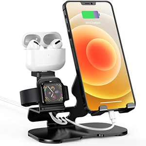 Charger Stand for Apple Watch iPhone & Airpods, 3 in 1 Aluminum Charging Dock Holder for iPad,iWatch Series 6/5/4/3/2/1/SE,AirPods Pro/2 and iPhone Series 12/11/Xs/X/8/7/6s (Charger & Cables Required)