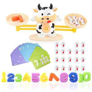 JIMI Counting Game Cow Balance Cool Math Game, Cute Look Calfs Three Level Difficulty, Math Teaching Tool Educational Learning STEM Toys for Kids Girls & Boys Gift Ages 3+
