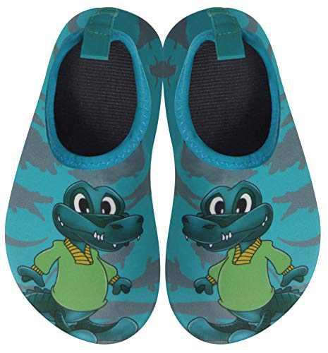 BomKinta Kids Water Shoes Boys Girls Quick Dry Non-Slip Aqua Socks for Beach Swimming Pool Dark Green Size 12.5-13 M US Little Kid