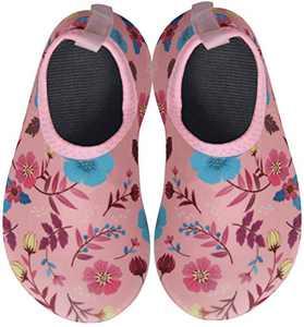 BomKinta Kids Water Shoes Boys Girls Quick Dry Non-Slip Aqua Socks for Beach Swimming Pool Pink Size 6-7 M US Toddler