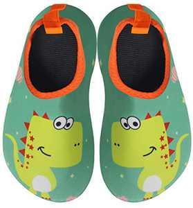BomKinta Kids Water Shoes Boys Girls Quick Dry Non-Slip Aqua Socks for Beach Swimming Pool Green Yellow Size 1-2 M US Little Kid