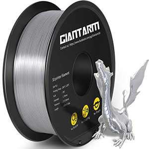 PLA 3D PrinterFilament , GIANTARM Silk PLA Filament with 1.75mm Dimensional Accuracy +/-0.03mm, 1080 Feet per Roll, Vacuum Packaging, for Most 3D FDM Printer.Metallic Silver
