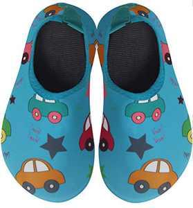 BomKinta Kids Water Shoes Boys Girls Quick Dry Non-Slip Aqua Socks for Beach Swimming Pool Light Blue Size 12.5-13 M US Little Kid