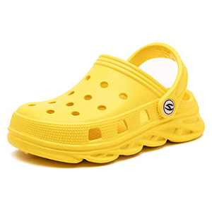 Kids Classic Clog Slip on Boys and Girls Water Shoes Lightweight Graphics Garden Shoes Slippers (Yellow,3.5 Toddler)