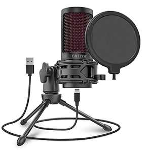 USB Microphone for Computer, CMTECK XM550 Gaming Cardioid Mic for PC Laptop Desktop Mac, Mute Button with Led, Anti-Vibration Shock Mount, Pop Filter for Recording, Streaming, Podcasting, YouTube