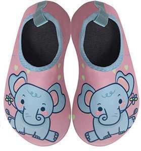 BomKinta Kids Water Shoes Boys Girls Quick Dry Non-Slip Aqua Socks for Beach Swimming Pool Pink Blue Size 1-2 M US Little Kid