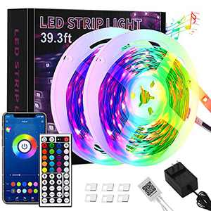 HASBOY LED Strip Lights 40FT 5050 RGB LED Color Change Light Strips with Music Sync, 44 Keys IR Remote and Bluetooth App Control, 16 Million Colors DIY Modes, for Home, Kitchen, Bedroom, TV, Party